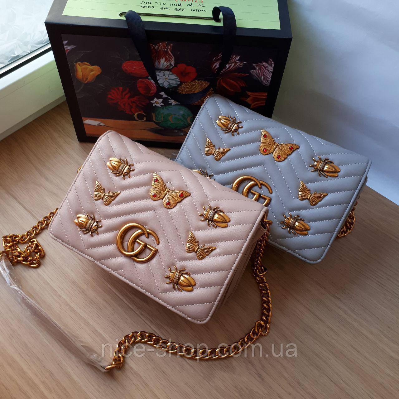 Сумочка  Gucci пудрово-бежевая с бабочками