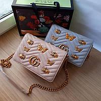 Сумочка  Gucci пудрово-бежевая с бабочками, фото 1