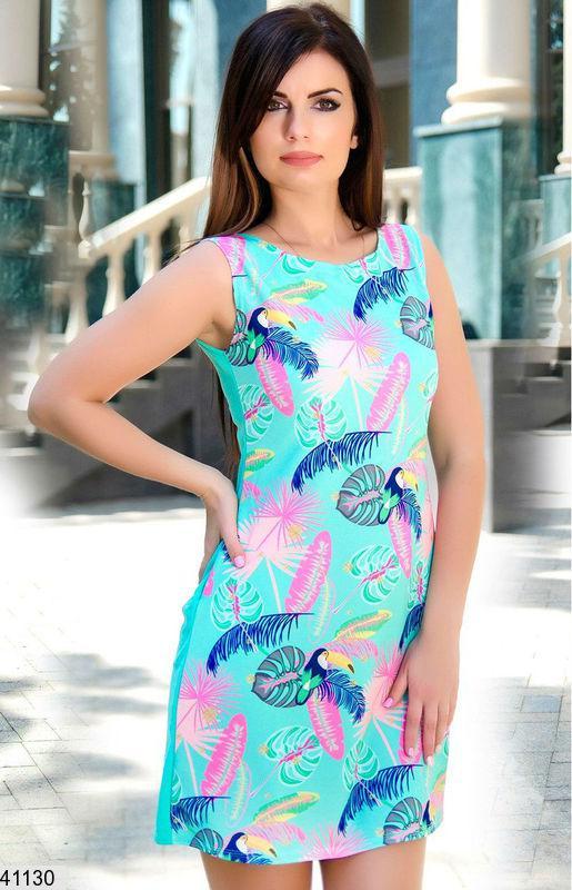 Красивое платье на лето короткое прямого кроя дайвинг ментоловое