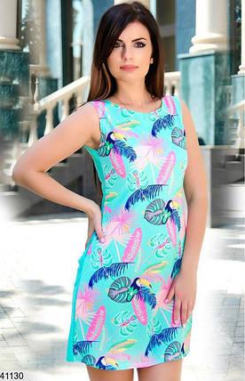 Красивое платье на лето короткое прямого кроя дайвинг ментоловое, фото 2