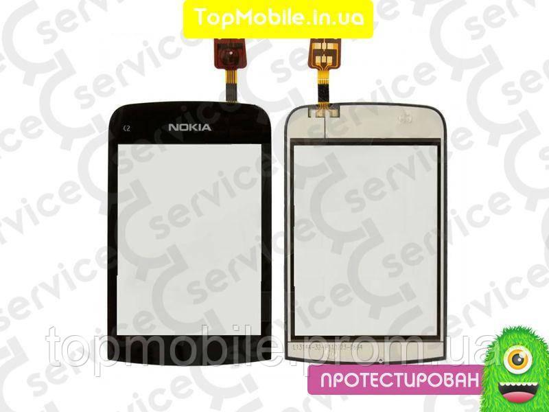 Сенсор Nokia C2-02/C2-03/C2-06/C2-07/С2-08, черный, оригинал (Китай) (тачскрин, стекло)