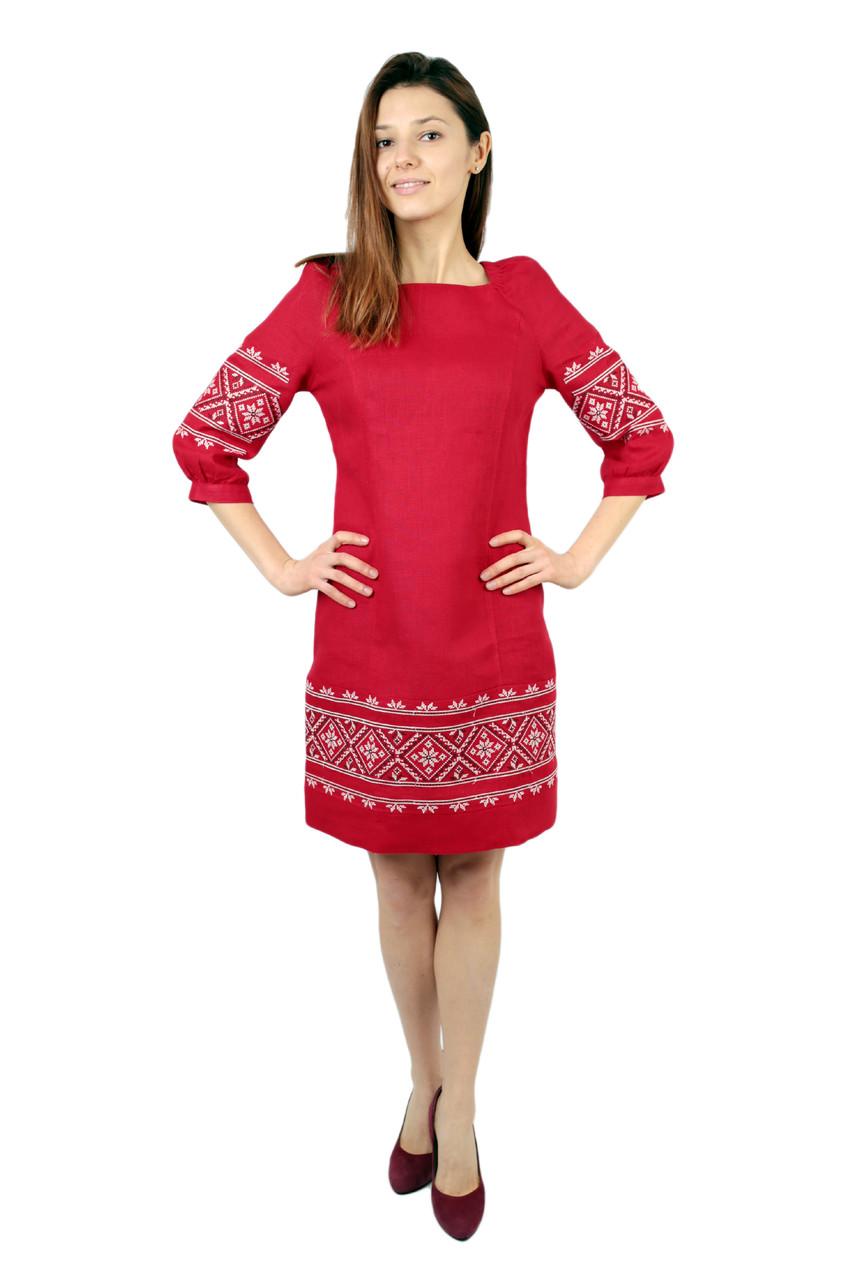 Вишите лляне червоне плаття з машинною вишивкою