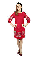Вишите лляне червоне плаття з машинною вишивкою, фото 1