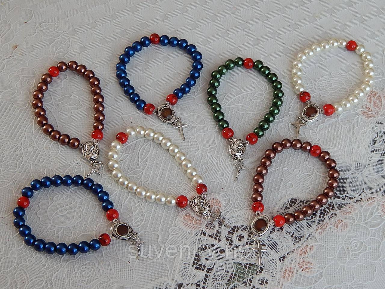 Красивые браслеты на руку с иконкой и в середине святая земля