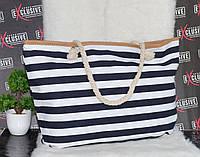 Полосатая пляжная сумочка с канатными ручками., фото 1
