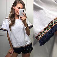 Женская красивая футболка с вышивкой, фото 1