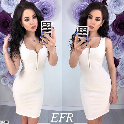 Летнее платье мини без рукав по фигуре белое, фото 2