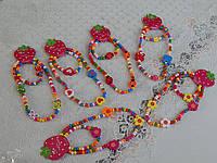 Детские украшения из дерева колье с браслетом разные виды