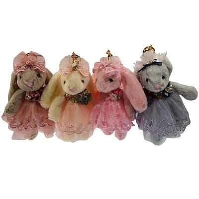 Брелок Зайка в фатиновом платье, искусственный мех