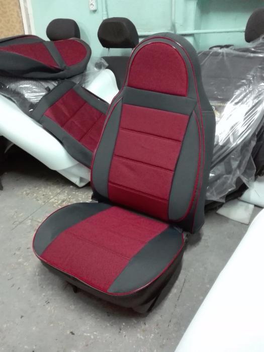 Красные Чехлы на сиденья из кожзама , Автоткани, экокожа, Комбинированные, пилоты ВАЗ 2106