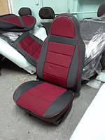 Красные Чехлы на сиденья из кожзама , Автоткани, экокожа, Комбинированные, пилоты ВАЗ 2106, фото 1