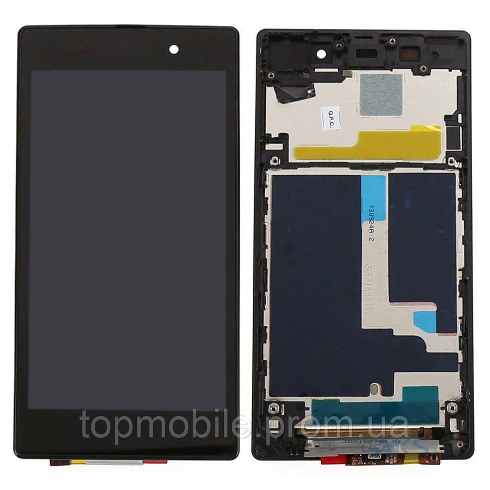 Модуль Sony D6633 Xperia Z3 Dual Sim  черный, с передней панелью (стекло, экран, дисплей)