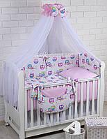 Комплект постельного белья Asik Цветные совы на сиреневой ветке и горошек на розовом 8 предметов (8-220)