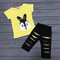 Детский комплект футболка и бриджи с двусторонними пайетками для девочек оптом р.2-8 лет