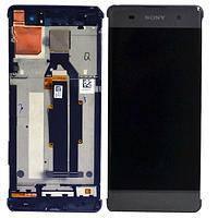 Модуль Sony F3111 Xperia XA/F3112/F3113/F3115/F3116  серый, Graphite Black, с передней панелью, оригинал (Китай) (стекло, экран, дисплей)