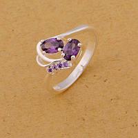 Шикарное женское кольцо с аметистом р 17,5