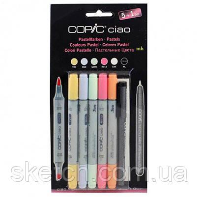 """Набор маркеров Copic Ciao Set """"5+1"""", пастельные цвета+лайнер"""