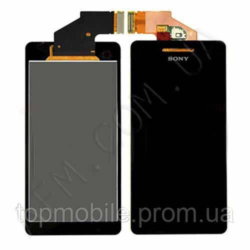Модуль Sony LT25i Xperia V  черный, с передней панелью (стекло, экран, дисплей)