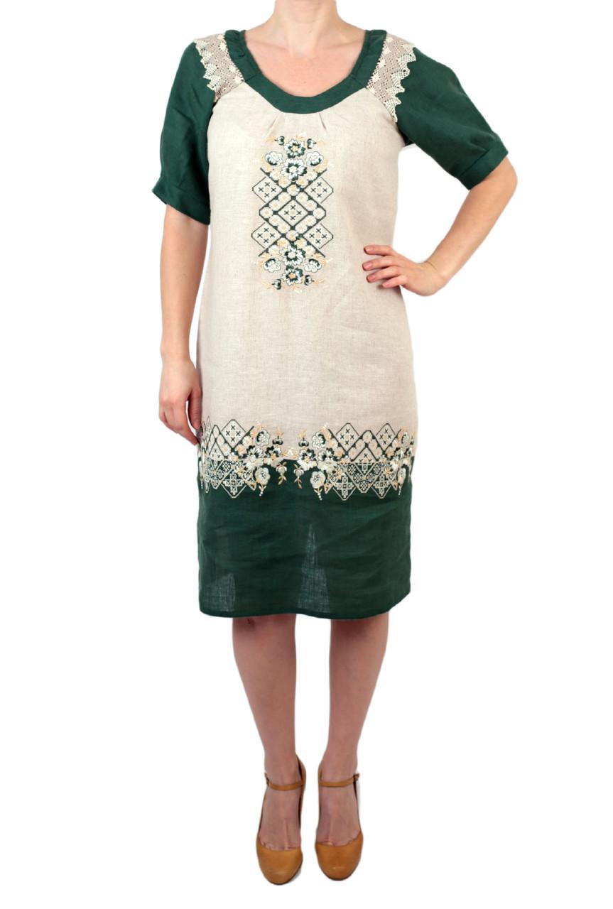 Вишите лляне плаття/сарафан зелено-бежевого кольору з машинною вишивкою