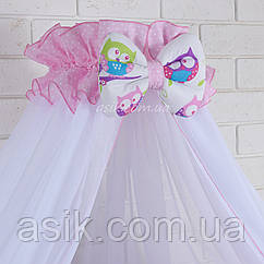 Балдахин в кроватку с оборкой розового цвета в белый горошек