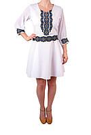 Вишите плаття на габардині білого кольру з машинною вишивкою, фото 1