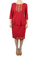 Жіночий вишитий костюм на тканині мадона червоного кольору з машинною вишивкою, фото 1