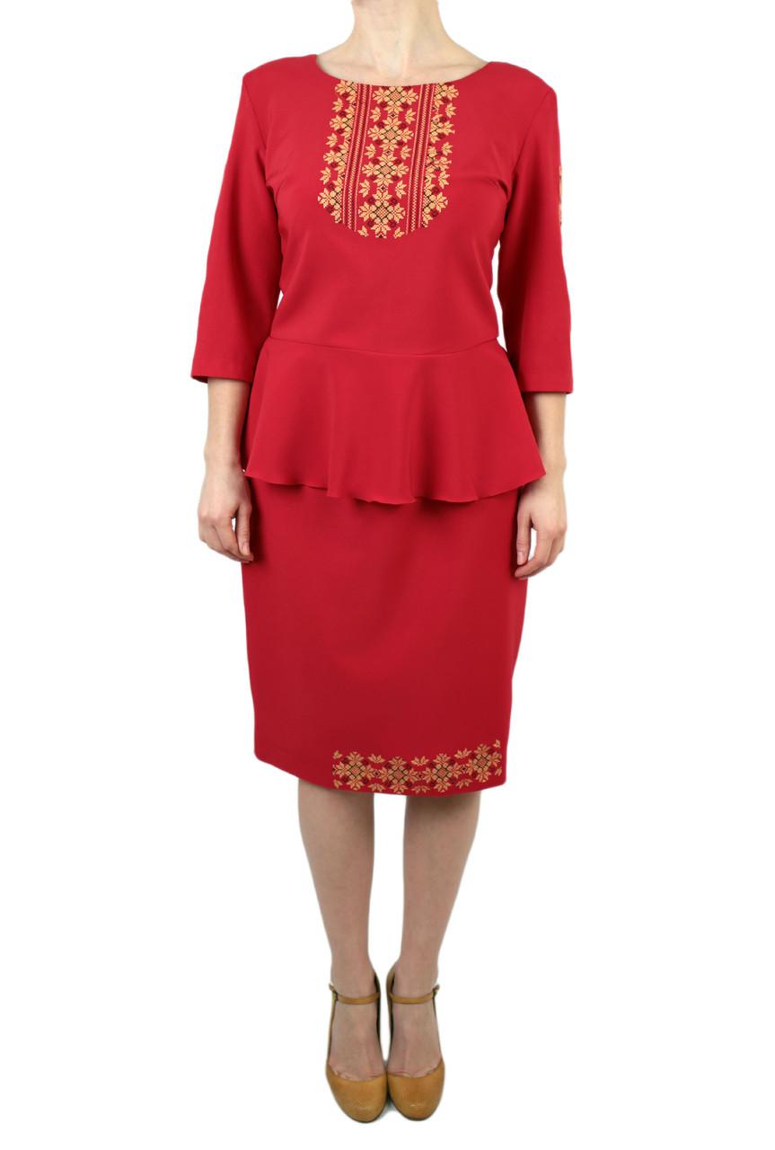 Жіночий вишитий костюм на тканині мадона червоного кольору з машинною вишивкою