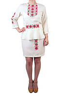 Жіночий вишитий костюм на габардині молочного кольору з машинною вишивкою, фото 1