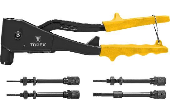 Заклепочник для установки резьбовых заклепок M3, M4, M5, M6, TOPEX 43E110