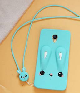 Чехол Funny-Bunny 3D для Meizu M5 Бампер резиновый голубой