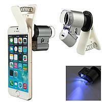 Микроскоп, увеличитель для смартфона с креплением на камеру, с подсветкой, для проверки купюр