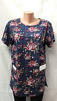 Хлопковая футболка с карманами букет цветов