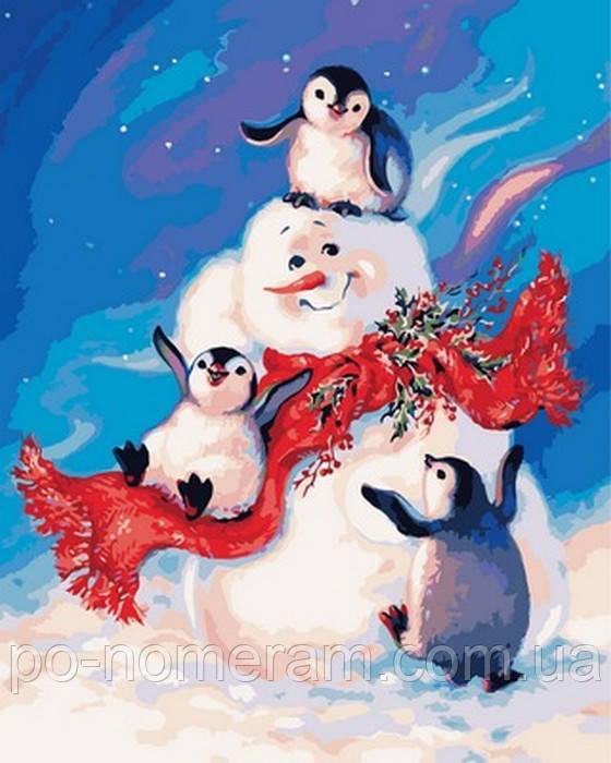 картина по номерам снеговики