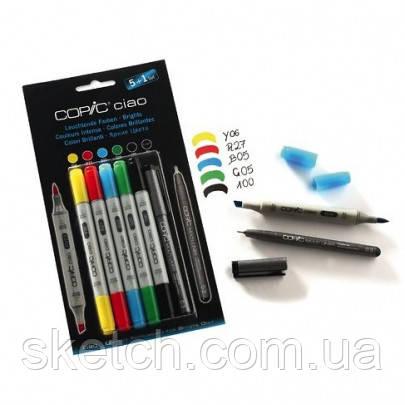 """Набор маркеров Copic Ciao Set """"5+1"""", яркие цвета+лайнер"""