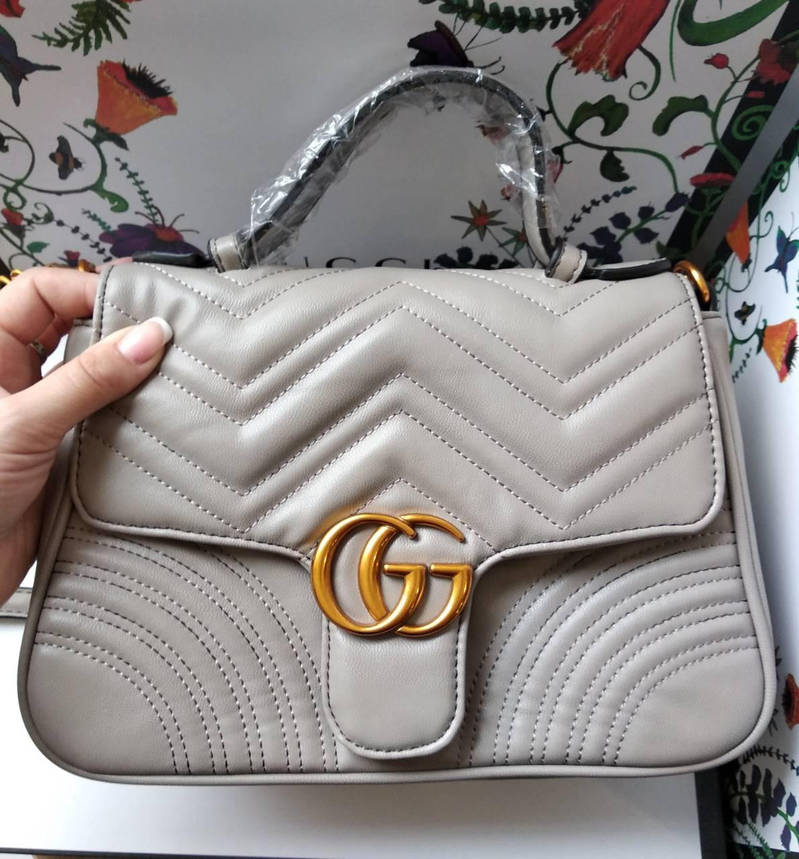 Сумочка  Gucci  серая, эко-кожа, фото 2