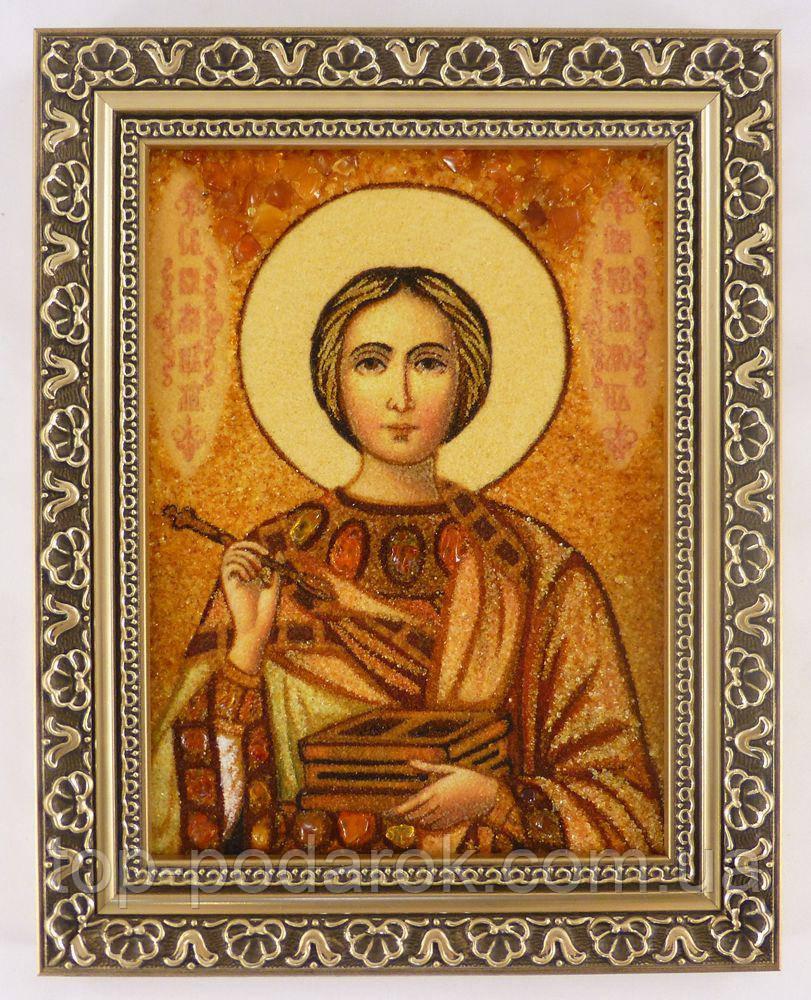 Икона из янтаря именная Пантелеймон іі-136