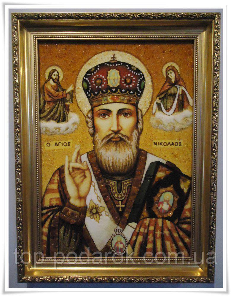 Икона из янтаря именная Николай іі-100