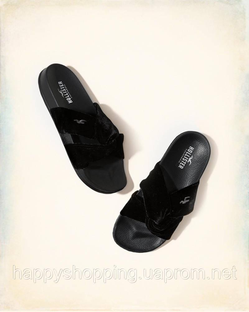 Женские черные велюровые шлепанцы Hollister