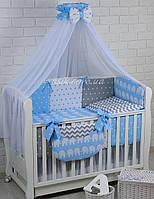 """Детская постель в кроватку """"Слоны на голубом, зигзаги, звёздочки"""", №222."""