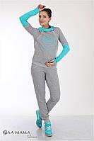 """Стильные спортивные брюки для беременных """"Soho теплые"""" с начесом, серый меланж"""