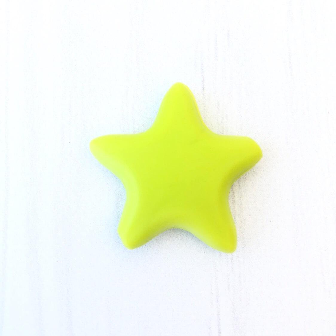 Звезда  острокон. (салатовая), бусины из пищевого силикона