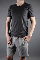 Мужские футболка и шорты, серый набор