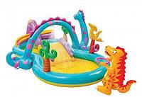 Детский надувной центр бассейнами и горкой Планета динозавров арт.  57135