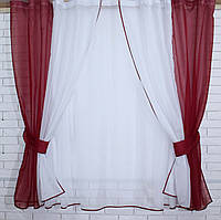 Комплект на кухню, тюль и шторки №38(У) Цвет бордовый с белым