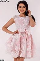 Красивое платье короткое пышное с коротким рукавом розовое