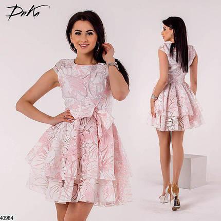 Красивое платье короткое пышное с коротким рукавом розовое, фото 2