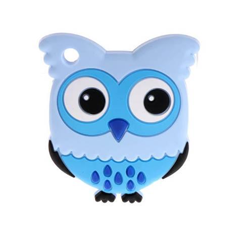 Сова с глазками (голубой) силиконовые грызунки