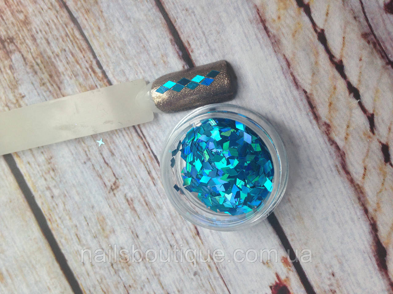 Декор ромбы, светло-синие, голограмма