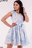 Нежное платье короткое с коротким рукавом пышное под пояс с бантом голубое