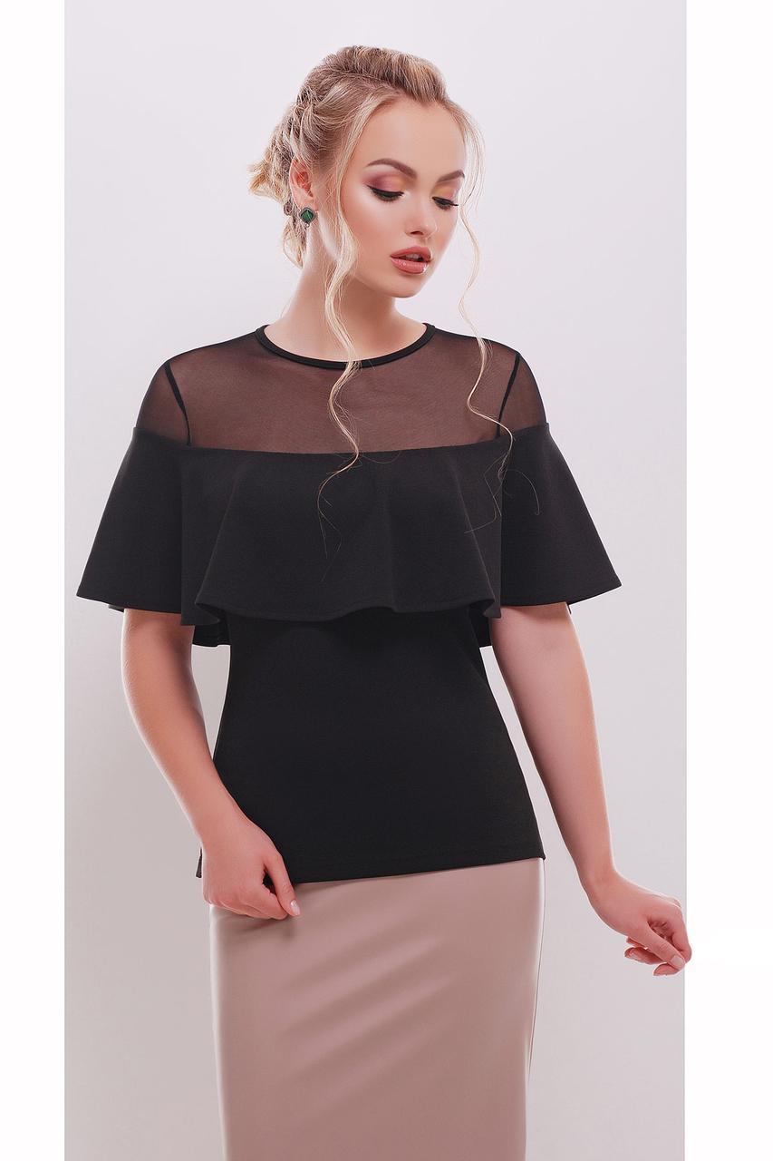Летняя черная блузка с сетчатой вставкой и драпировкой-воланом Сонья б/р
